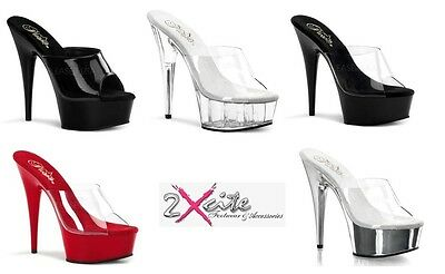"Pleaser Delight 601 Stiletto 6"" High Heel Platform Mules Pole Dancing Sizes 3-11"