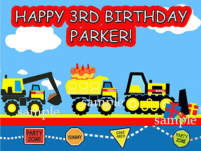 CONSTRUCTION Trucks Edible CAKE Image Photo Topper ICING Image FREE SHIPPING