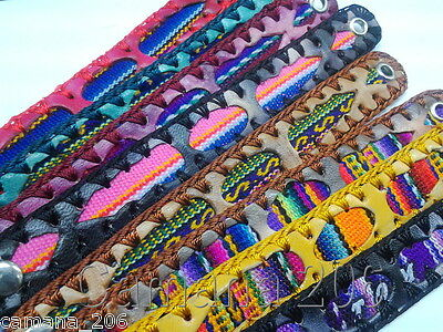Lot of 45 leather bracelets with manta wool inca art cuzco Made in Peru