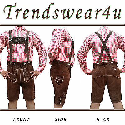 Authentic Lederhosen German Bavarian Oktoberfest Trachten Short Length Outfit 21