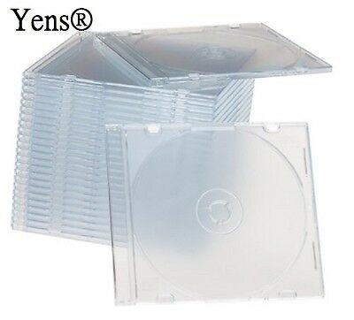 Yens® 50 New Clear Single Slim CD DVD Jewel Case 5.2mm 50#5CCD