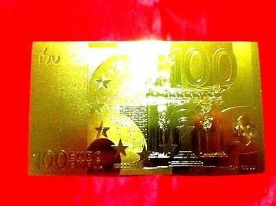 Banknote 100 Euro 24Kt Gold Rare Collectable  24Kt Rare Gold 99.9% + Free Coa