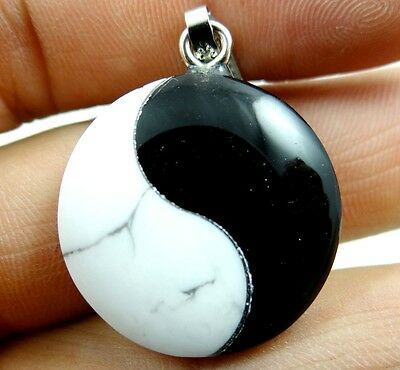 Unique black agate White Howlite Yin and Yang tai chi Gemstone pendant beads AA1