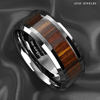 8mm ATOP Men's Tungsten Carbide Ring Wood Inlay Beveled edge Wedding Band Ring