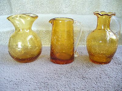 SET OF THREE CRACKLE GLASS 1  PITCHERS 2 VASES