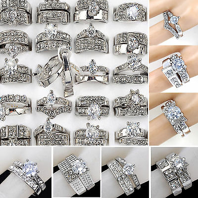 10pc Top Wholesale Jewelry Cubic Zircon Rhinestones silver Plated 2 in1 Rings NE