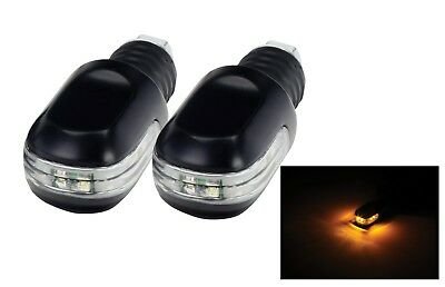 New Motorbike Motorcycle Bar Ends Weight With Amber Led Indicators Pair