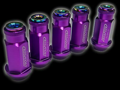 20Pc 12X1.5Mm 50Mm Extended Aluminum Racing Capped Lug Nuts Purple/Neo B
