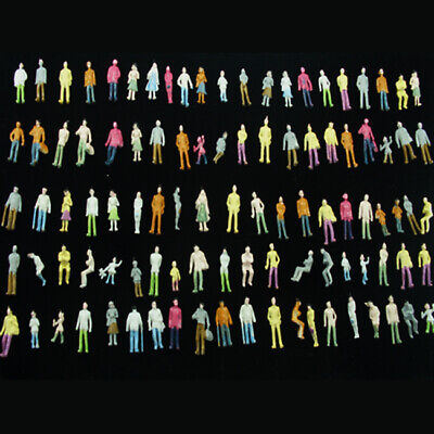 100 pcs Miniature Figures Diorama Painted Architectural Human Figure TT Scale