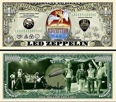 LED ZEPPELIN - BILLET 1 MILLION DOLLAR US ! ROBERT PLANT JIMMY PAGE John Bonham