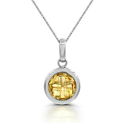 "Sterling Silver 925 Round Gemstone 18"" Pendant- Citrine, Garnet or Smoky Quartz"