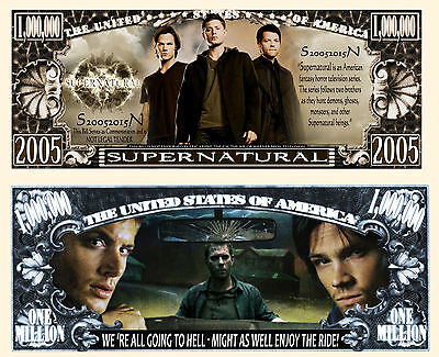 SUPERNATURAL - Billet 1 MILLION DOLLAR US ! Série SURNATUREL Fantastic Horreur
