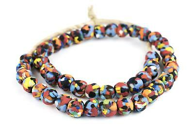 Multicolor Fused Recycled Glass Beads 14mm Ghana African Round Large Hole