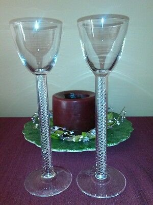 """Pair of Steuben Glass Crystal Signed Air Twist Stem 12"""" Toasting Goblets Glasses"""