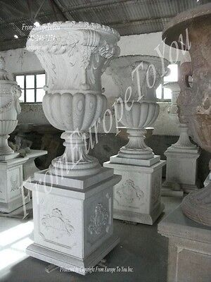 Beautiful Hand Carved Marble Urns And Bases - Urn2