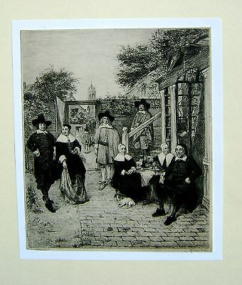 Engraving A Dutch Family In A Courtyard After Van Der Meer William Unger 19Thc