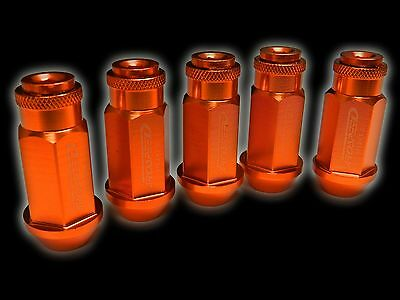 20Pc 12X1.5Mm 50Mm Extended Aluminum Racing Capped Lug Nuts Orange