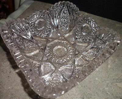 Collectible Nucut Glass Candy Bowl Pressed Design Imperial Vintage Glassware