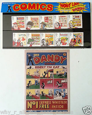 Royal Mail Mint Stamps - Repro 1st DANDY COMIC & Beano Tiger Eagle Stamp Strips