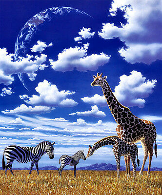 HD Canvas Print Oil painting Picture Animals Zebra and giraffe on canvas L539