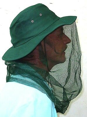 Khaki Cotton Hat with inbuilt Fly Mesh keep out insects and mosquitos BRAND NEW
