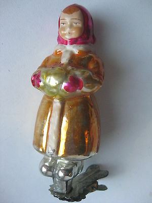 "Antique Russian Christmas Silver Glass Ornament ""Winter Girl"""