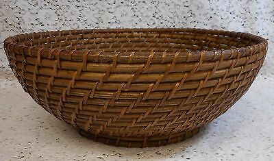 """12"""" Woven Weaved Wood & Wicker Basket Bowl Container"""