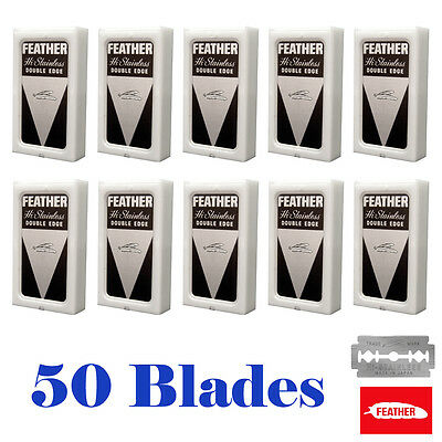 50 Feather Razor Shaving Blades HI-STAINLESS Double edge Platinum coated - RED