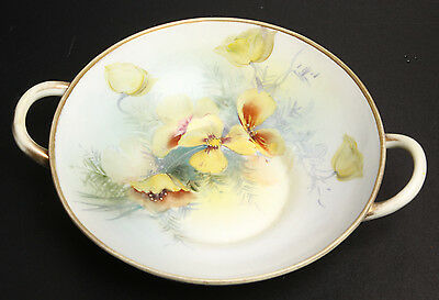 NIPPON BOWL WITH HANDLES AND FLORAL DESIGN LIGHT GREEN AND MULTI COLOR FLORAL