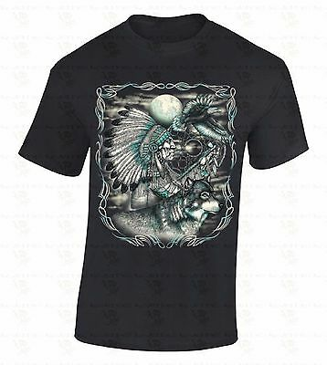 Chief Wolf Eagle T-SHIRT Native American Dream Catcher Moon Headdress Gift Shirt