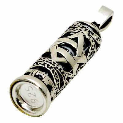 Mezuzah & scroll with star of David Judaica 925 sterling silver Jewish pendant