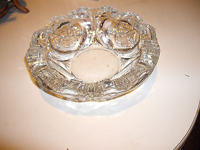 Brilliant Lead Crystal Cigar Ashtray Interlaced Rose Cut *Great Fathers Day Gift