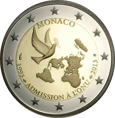 2013 monaco 2 euro coin 20 years in ONU new in box & certificate proof version