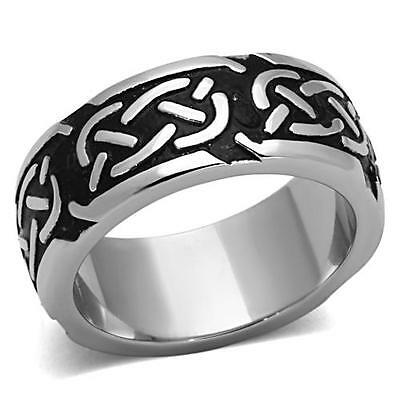 Celtic Rope Ring Black 316L Stainless Steel 9mm Eternity Band Sizes 10 12 13