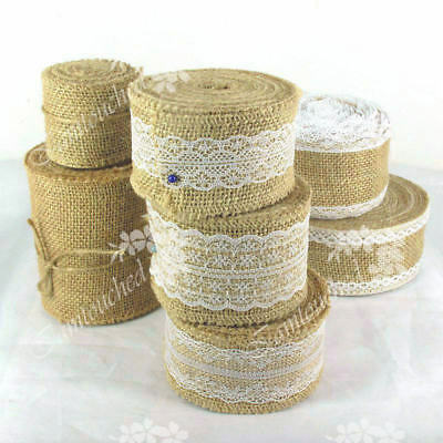 Hessian Burlap Ribbon Lace Trims Edge Natural Jute Tape Wedding Party Suppies