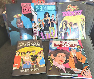 5 book lot love and rockets hernandez brothers los bros blood of palomar chelo's