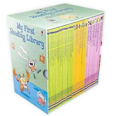 Usborne My Very First Reading Library 50 Paperback Picture Books kids leaning