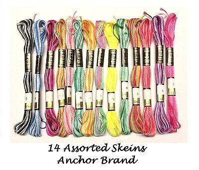 Anchor Variegated Cross stitch Cotton thread Floss 14 assorted basic colors