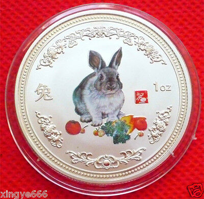 Auspicious  Chinese Lunar Zodiac Colored Silver Coin - Year of the Rabbit