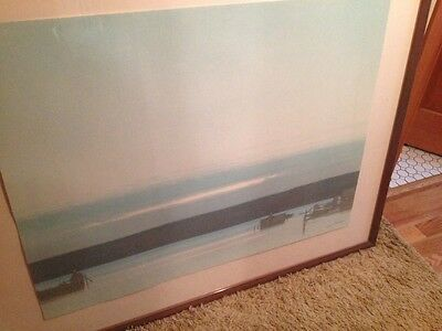 """Russell Chatham lithograph """"Harbor at Evening"""" original and signed"""