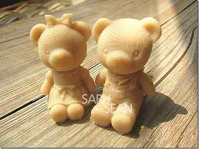3D Cute Boy & Girl Teddy Bear Silicone Mould Duo for soaps, candles, etc