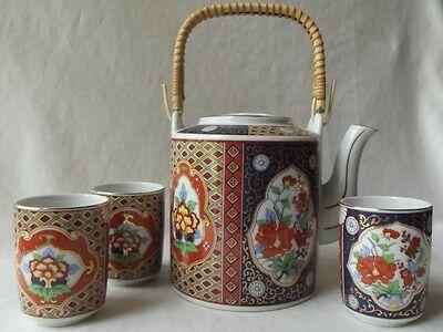 Lovely Vintage Japanese Imari Ware Porcelain Teapot & 3 Cups Set