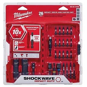 Milwaukee 26pc Shockwave Impact driver Bit & Socket Set w/ adapters #48-32-4408