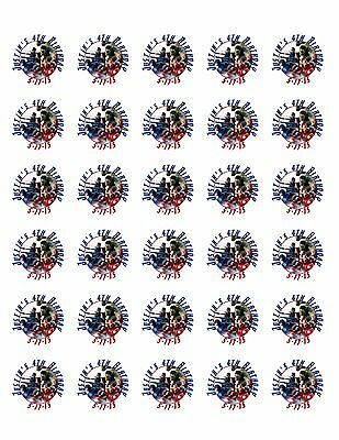 30 Avenger Stickers Lollipop Labels Party Favors 1 1/2 inch Personalize Any