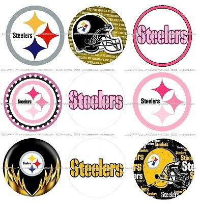 "63 Ct. Pittsburgh Steelers Scrapbooking Bottle Cap 1"" Stickers Set - Adhesive"