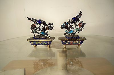 """Pair Of Vintage Enamel & Silver Blue Birds On Branches - 3"""" X 3"""" X  2"""""""