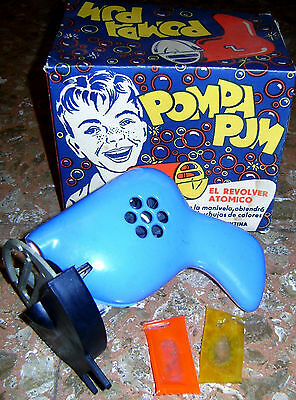 "VINTAGE ATOMIC BUBBLE GUN SPACE GUN ""POMPA PUM"" ARGENTINA 1950s WITH REPRO BOX"