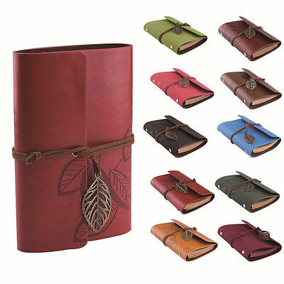 Vintage Leaf Charm PU Leather Cover NoteBook Travel Gift Sketchbook Blank Diary