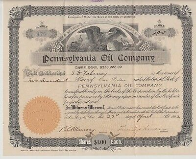 Pennsylvania Oil Company Stock Certificate 1902 Los Angeles