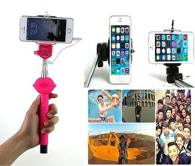 Sexy Lips Extendable Selfie Wired Stick Holder Monopod for iPhone Samsung F001